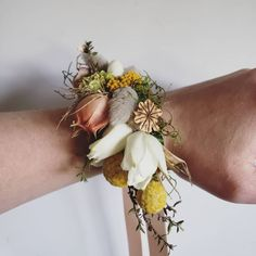 WRIST CORSAGE F l o r a l S t y l i s t ( Do your wedding your way! ✨ This gorgeous bride chose a dried fresh wrist corsage instead of a bouquet - just look at those colors 🥰 Wrist Corsage, Cuff Bracelets, Wedding Flowers, Bouquet, Fresh, Bride, Colors, Jewelry, Wedding Bride