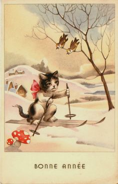 Happy New Year 1930s Sad Cat Snow Skiing. Birds Singing