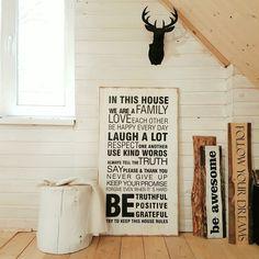 Большой деревянный постер с семейными правилами