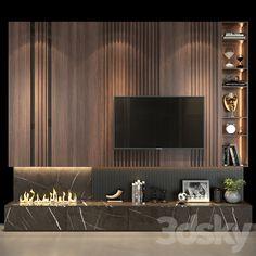 Ensemble Mural Tv, Tv Wall Decor, Wall Tv, Home Living Room, Living Room Decor, Living Room Tv Unit Designs, Tv Wall Design, Fireplace Design, Interior Design