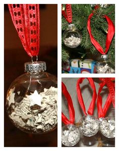 Easy Christmas Ornament {Kid Craft}. Would look cool if you put different colored paper!