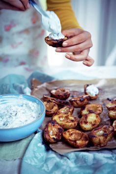 Tandoori baby potatoes with herb yogurt recipe from Anjum's Indian Vegetarian Feast by Anjum Anand | Cooked