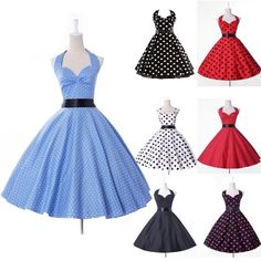 50's Polka Dot Halter Cotton Dress Rockabilly Swing Vintage Pinup Retro Clubwear #Unbranded #BallGown #Cocktail