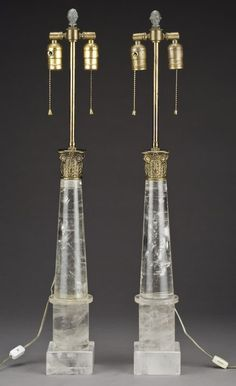 Rock crystal obelisk lamps...chic and flexible...can go anywhere but deserve attention!