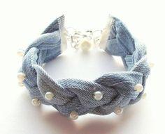 Best 11 awesome Denim Leather Swedish Lapland Bracelet Cuff YDUN Nordic Viking Jewelry with Sterling Silver Beads – Custom Handmade Tribal Elegance – Page 418975571569020733 – SkillOfKing. Bracelet Denim, Denim Earrings, Tiny Stud Earrings, Pearl Bracelet, Dangle Earrings, Recycled Jewelry, Recycled Denim, Handmade Jewelry, Jean Crafts