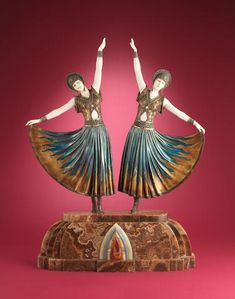 Demetre Chiparus 'The Dolly Sisters' an Important Large Size Art Deco Cold-Painted Bronze and Carved Ivory Group, circa 1925
