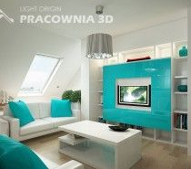 This teen bedroom has the theme of turquoise in the house's loft. To add to this pretty color, they had white to make it seem like a beach (to me). The tv looks like a nature channel is on because there's a waterfall on the screen. The ceiling has a gray lamp hanging down.