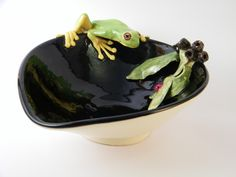 Wheel formed Jewelry Tray featuring sculpted frog by Tanya Bechara