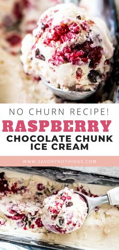 This is our favorite no churn ice cream flavor this year! Made with just five simple ingredients, this homemade raspberry chocolate chunk ice cream is an easy treat you can whip up with the kids. The ice cream base is deliciously flavored with vanilla! Ice Cream Treats, Ice Cream Desserts, Ice Cream Flavors, Frozen Desserts, Ice Cream Recipes, Flavor Ice, Frozen Treats, Chocolate Chip Ice Cream, Raspberry Chocolate