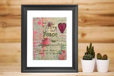 shabby chic print, gift for her, red heart art, bedroom wall decor, teen wall art, Love and Peace, fill your heart, breast cancer awareness