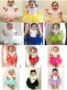 Different color tutu for baby girl monthly pictures. Made them for my daughter. Different color tutu for baby girl monthly … Monthly Baby Photos, Baby Girl Photos, Newborn Pictures, Baby Pictures, Book Bebe, Baby Girl Photography, Children Photography, Baby Growth, Foto Baby