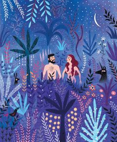 Mariana Ruiz Johnson, Adam and Eve in Paradise Art And Illustration, Illustrations And Posters, Posca Art, Nocturne, Graphic Design Art, Art Inspo, Art Drawings, Art Photography, Artwork