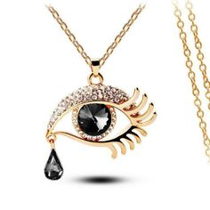 Black Eye With Tears Gold Plated Necklace