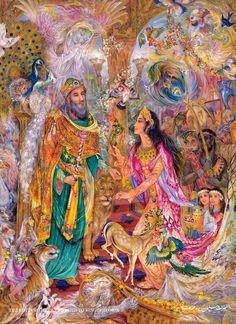 Visit of the Queen of Sheba to King Solomon, 2008 Persian miniature ,artist Mahmoud Farshchian Professor Persian Culture, Iranian Art, Sacred Art, Art And Illustration, Islamic Art, Beautiful Paintings, National Art, Taj Mahal, Fantasy Art