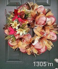 Elegant Deco Mesh Christmas wreath ivory burgundy gold XXL poinsettia #1305