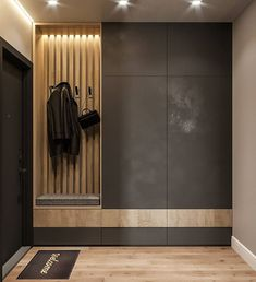 Idea for a narrow long corridor. Do you like dark color in . Idea for a narrow long corridor. Do you like dark color in …- Hall Wardrobe, Diy Wardrobe, Apartment Entrance, House Entrance, Hallway Designs, Closet Designs, Hallway Furniture, Entryway Decor, Room Interior
