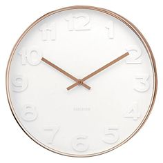Karlsson Mr White Numbers Wall Clock, Copper