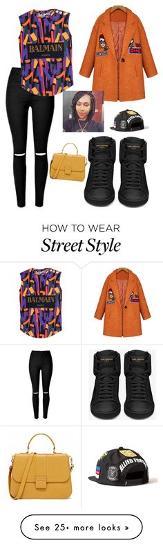 """""""Retro Style"""" by jahnya on Polyvore featuring Yves Saint Laurent, Balmain, women's clothing, women, female, woman, misses and juniors"""