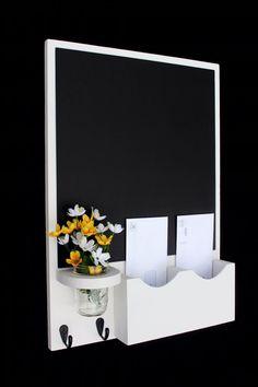 Chalkboard Mail Organizer with Mason jar - Wood - Letter Holder - Mail Holder - Key Hooks Home Decor Chalkboard, Large Chalkboard, Wood Crafts, Diy And Crafts, Wood Plastic, Diy Wood Stain, Mail Holder, Letter Holder, Key Hooks