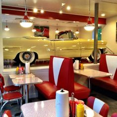 The interior looks like a classic 1950s diner, down to the checkered floor. It's the Classic Garage in Eau Claire Wisconsin