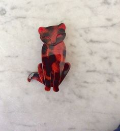 Lea Stein Paris Vintage SACHA Cat brooch by DecoFashion on Etsy