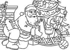 Coloriage Le père Noël et sa fille - dessin de Noël id 16 - colorier.rapide.net
