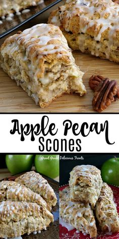 Breakfast Recipes Apple Pecan Scones are delicious scones perfect for breakfast or brunch, full of fresh apple chunks and chopped pecans, baked, then drizzled with a glaze for added sweetness. Breakfast Scones, Apple Breakfast, Breakfast Items, Breakfast Bake, Breakfast Dishes, Breakfast Recipes, Best Breakfast, Apple Recipes, Sweet Recipes