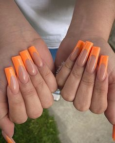 Orange Acrylic Nails, Short Square Acrylic Nails, French Acrylic Nails, Acrylic Nails Coffin Short, Orange Nails, Square Nails, Work Nails, Sparkle Nails, Minimalist Nails