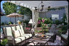 The Old Painted Cottage Unique Goods and Curious Finds Diy Porch, Diy Patio, Backyard Patio, Backyard Ideas, Outdoor Spaces, Outdoor Living, Outdoor Ideas, Outdoor Decor, Porch Area