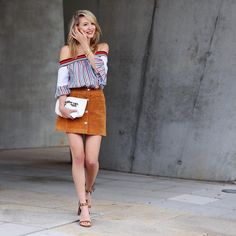 """ohh couture [haute couture] on Instagram: """"My kind of u n i f o r m: Suede skirt & off shoulder 