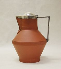 Jug- Christopher Dresser (Manufacturer- Watcombe Pottery Company) 1872-1875, earthenware with silver mounts