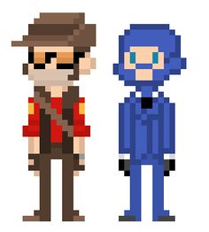 """wemarchalone: """" a red sniper and blu spy for radioactivehorse uHu"""
