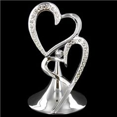 His & Hers Silver Double Heart Cake Topper with Rhinestone Accents | Shop Hobby Lobby