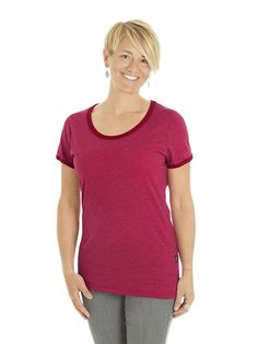 Style # L95 - Women's Ringer-T - Heather Jersey 50% Organic Cotton / 50% Recycled Polyester – 7oz Available in Heather Navy/Navy – Heather Black/Black – Heather Red/Red  Heather Grey/Red – Heather Grey/Navy – Heather Grey/Black