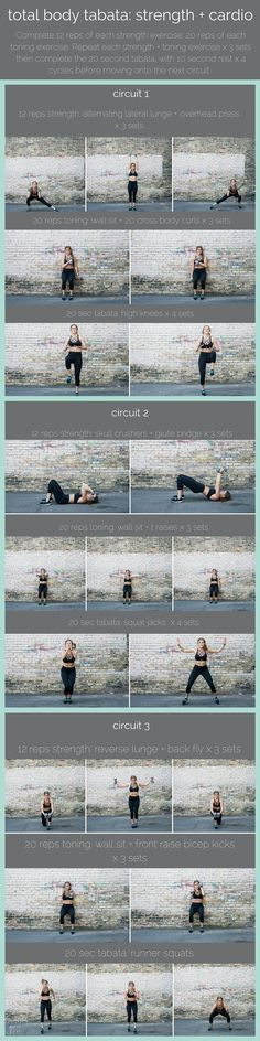 total body tabata with dumbbells cardio   strength   ready to test your cardiovascular stamina? combine dumbbell strength training with cardio intervals in this tri-circuit, total body tabata workout.   www.nourishmovelo...