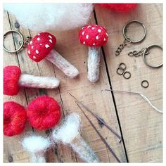 Back at my desk making some cute little needle felted mushroom keyrings for the Mossy Meadow shop today.  #needlefelting #needlefeltedmushrooms #mushrooms #mushroomkeyring #fairykeyring #crafts #wool #woolroving #maker #themossymeadow #mossymeadow