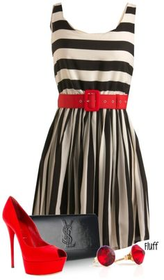 pop of red, stripes and pumps