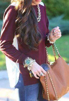 burgundy + camel + gold