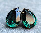 Emerald Green Large Bridal Earrings Swarovski Crystal Emerald Earrings Bridal Jewelry Mashugana