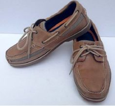 Timberland leather boat shoes MENS size 12 leather casual classic 2 eye #Timberland #BoatShoes