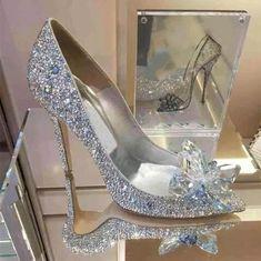 Buy Fashion Cinderella Slipper Wedding Shoes Heels with Fine Diamond Shoes at Wish - Shopping Made Fun Cinderella Wedding Shoes, Sparkly Wedding Shoes, Cinderella Slipper, Wedding Boots, Wedding Shoes Heels, Prom Heels, Bridal Shoes, Rhinestone Wedding, Crystal Wedding