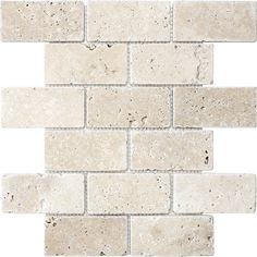 Shop Chiaro Tumbled Natural Stone Mosaic Subway Wall Tile (Common: 12-in x 12-in; Actual: 12-in x 12-in) at Lowes.com
