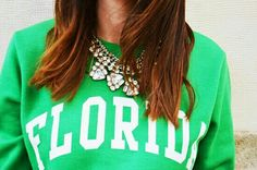 Statement necklace and sweater