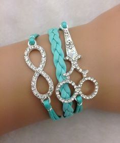 New Sparkly Scissor and infinity pendant bracelet Light Blue, salon or hair love
