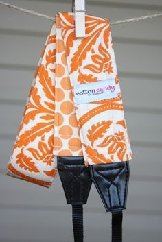 I so need this orange camera strap for my canon - from cotton candy by natalie. Nice!