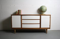 60's Mid Century Modern Reworked Bassett Credenza w/ Gorgeous Wood Grain & Painted w/ High Gloss Oil based Paint. Great for your living room, dining room, or anywhere in your dream home. by ABTModern, $1295.00 Keywords: Credenza, Sideboard, Dreser, Bar, Danish #ABTModern #abtmodern