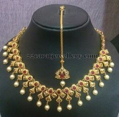 Polki Necklace with Tika and Earrings | Jewellery Designs