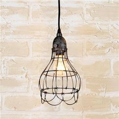 single Industrial Cage Work Light Pendant - aged iron (for over the kitchen sink)