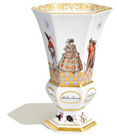 """Vase, Figurine painting """"Italian Comedy"""",coloured and gold,sp.sign,lim.,num., H 15,3 cm"""