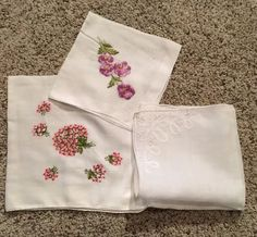 Lot Of 3 Vintage Floral Handkerchiefs Embroidered  | eBay